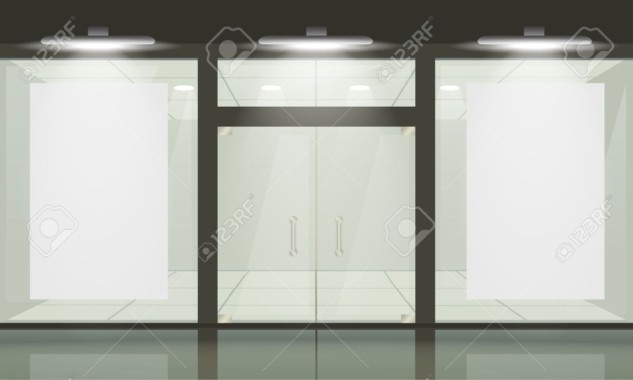 Shop with glass windows and doors, front view. Vector exterior. Stock Vector - 12490752