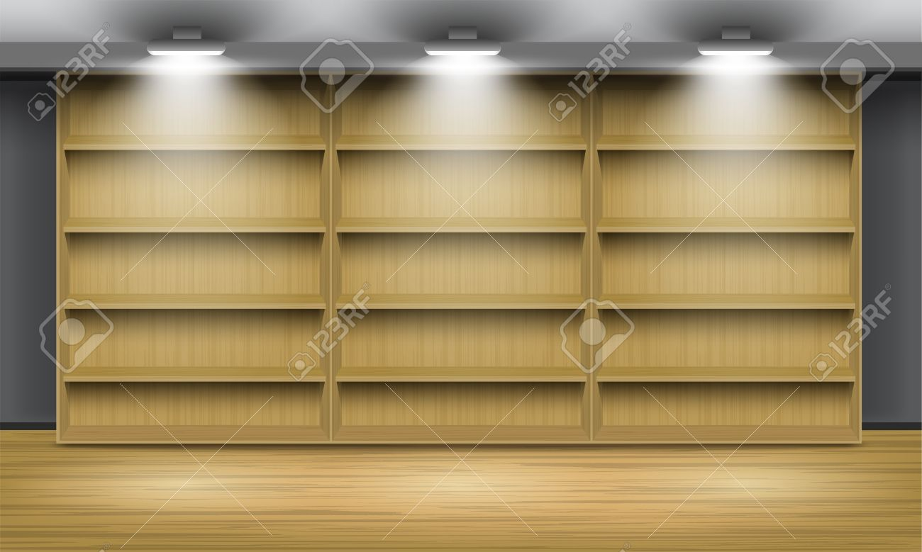 Empty wooden shelves illuminated by searchlights vector interior empty wooden shelves illuminated by searchlights vector interior stock vector 12490782 amipublicfo Image collections