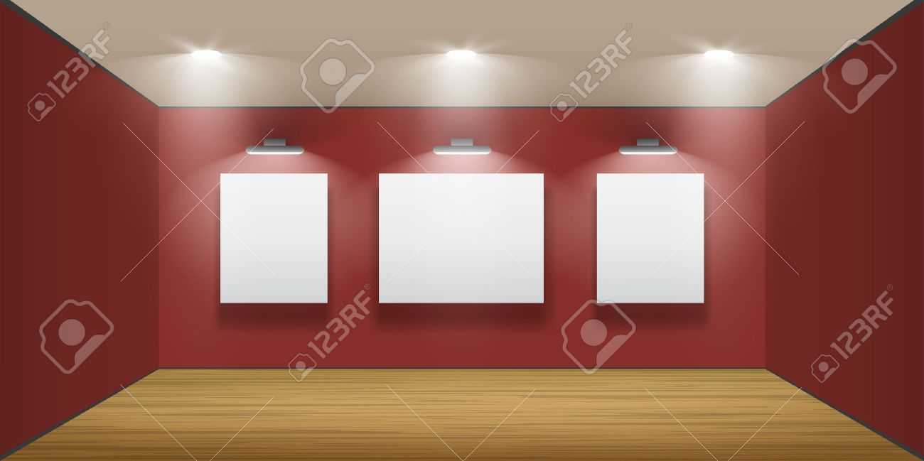 Exhibition hall with wooden floor and the three frames on the wall, illuminated by floodlights  Part of set Stock Vector - 12490785