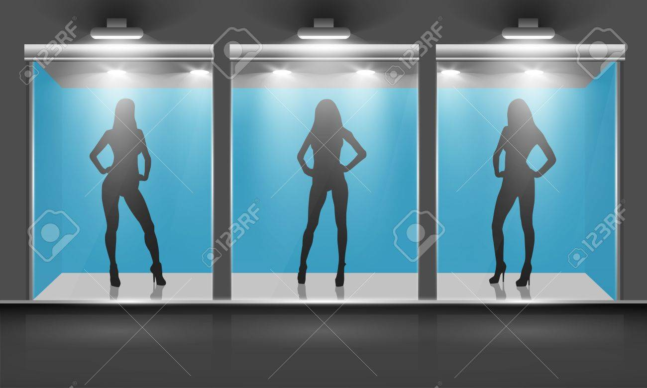 Shop with glass windows and women silhouette, front view  Vector exterior Stock Vector - 12930565