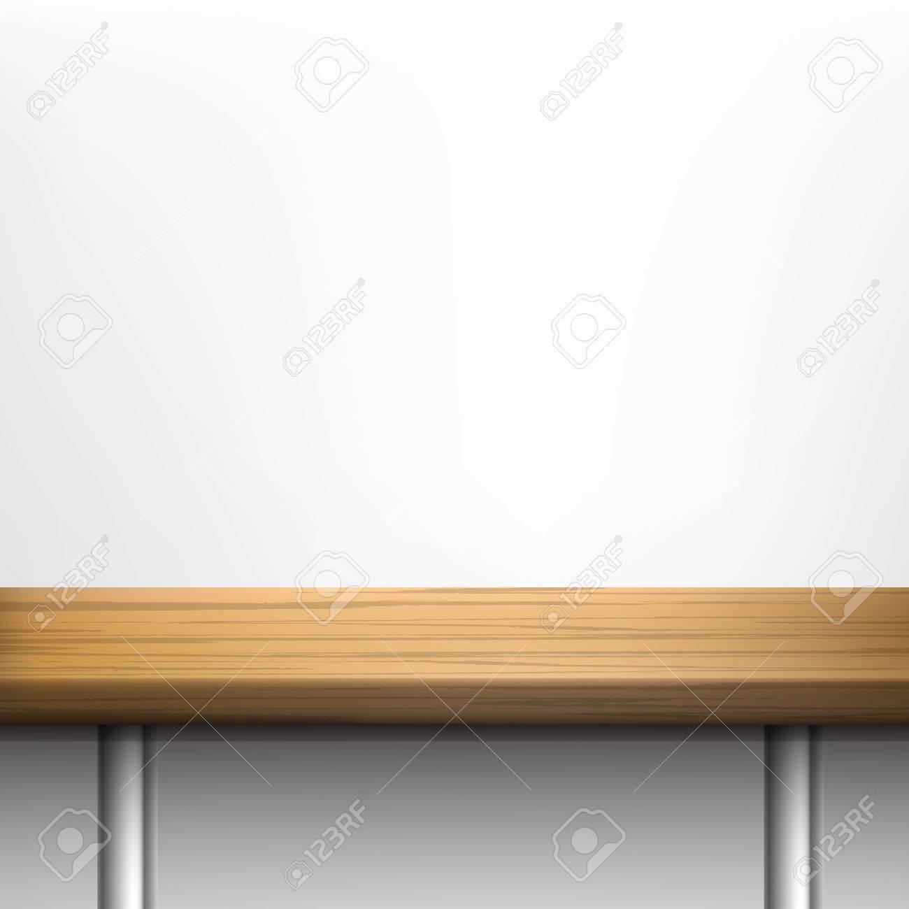 Weiße Wand Hintergrund Mit Holztisch Auf Metallbeinen Vektor Set