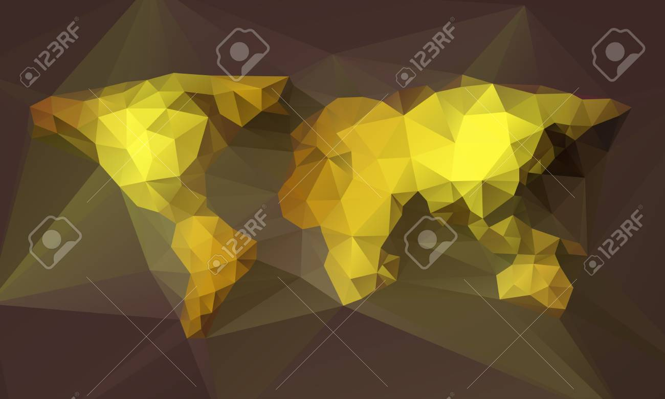 Vector abstract triangle golden world map illustration on dark vector vector abstract triangle golden world map illustration on dark background gumiabroncs Image collections