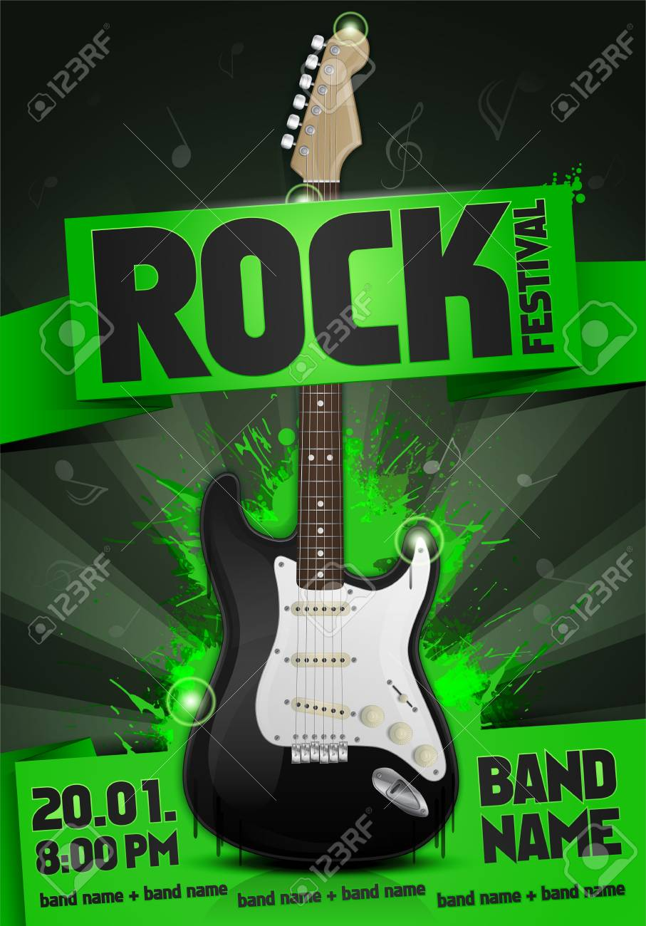 Rock Festival Banner Design Template With Guitar Royalty Free Cliparts Vectors And Stock Illustration Image 85422569