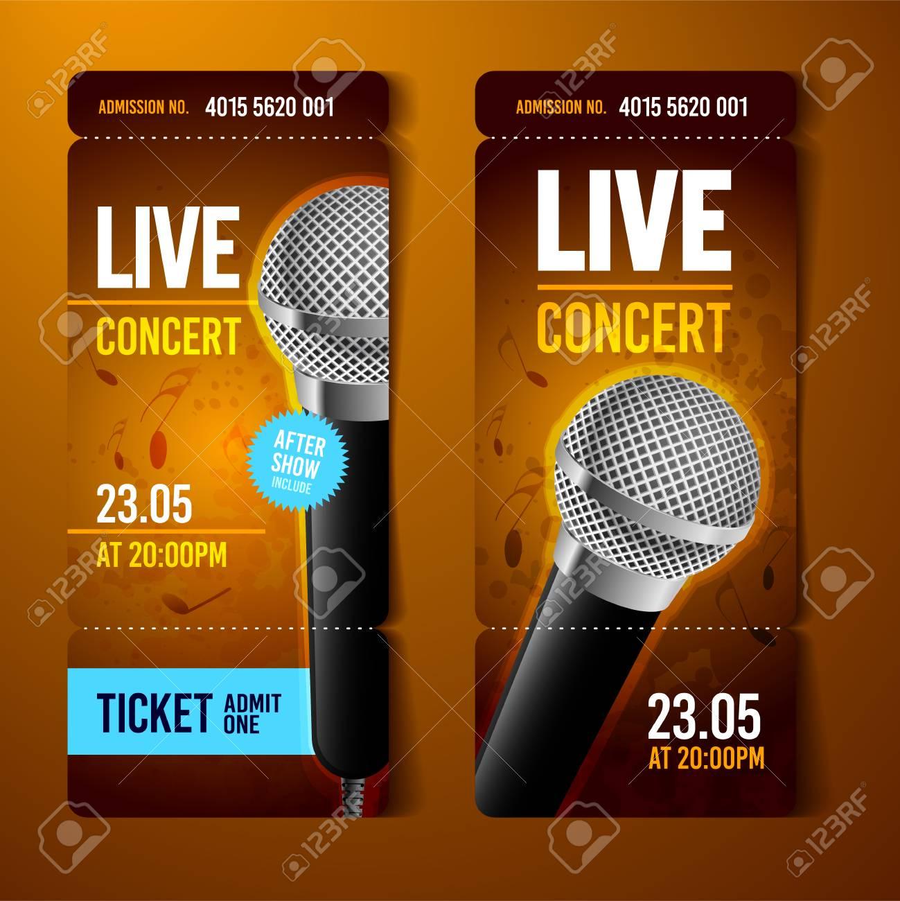 a vector illustration orange music concert ticket design template