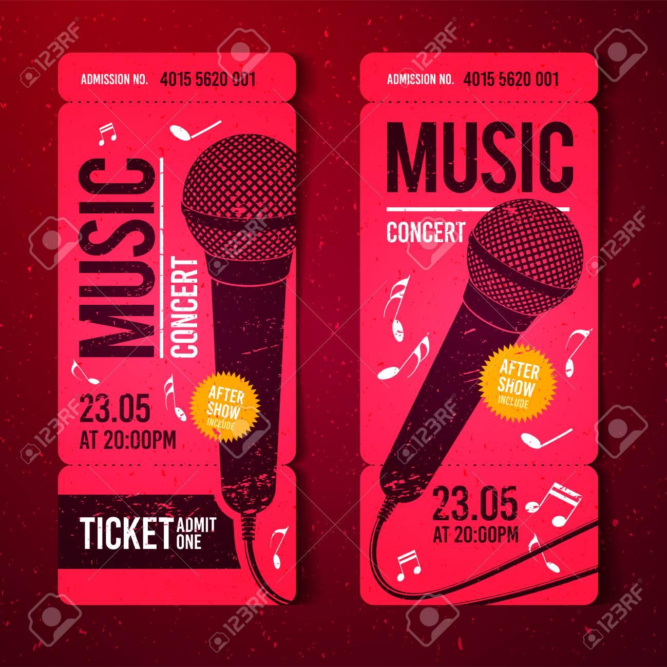 vector illustration red music concert ticket design template