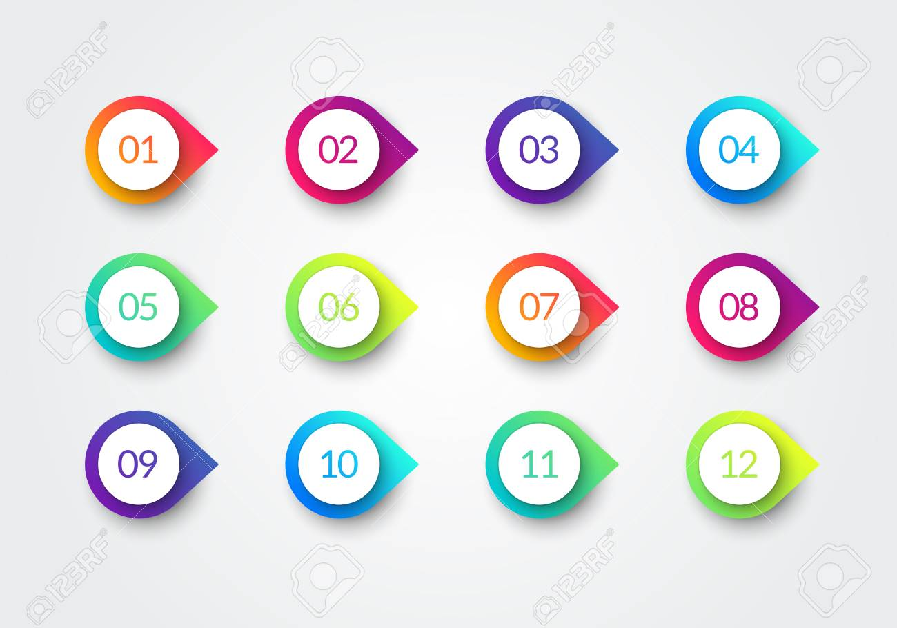 Vector Arrow Bullet Point Colorful Gradient 3d Markers With Number 1 To 12 - 112583688