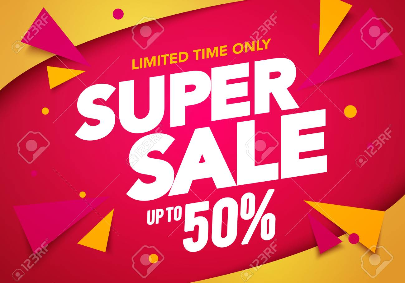 Vector illustration super sale banner template design, Big sales special offer. end of season party background - 115660329