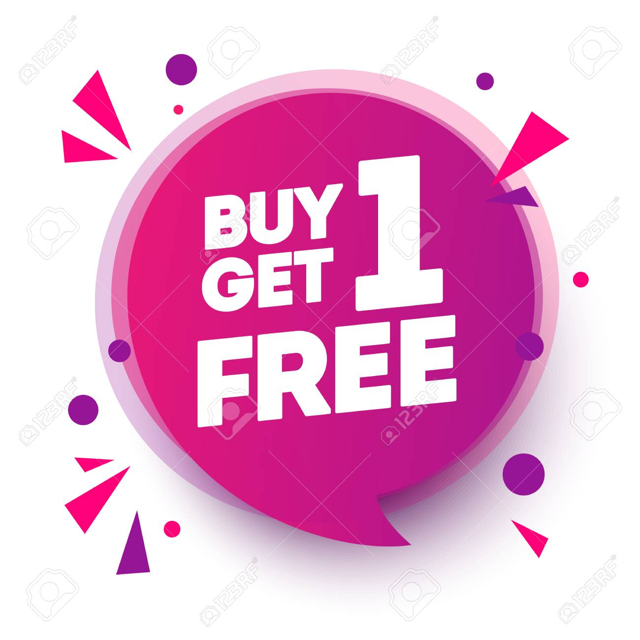 Vector Illustration Buy 1 Get 1 Free, Sale Tag, Banner Design Speech Bubble Template - 115662814