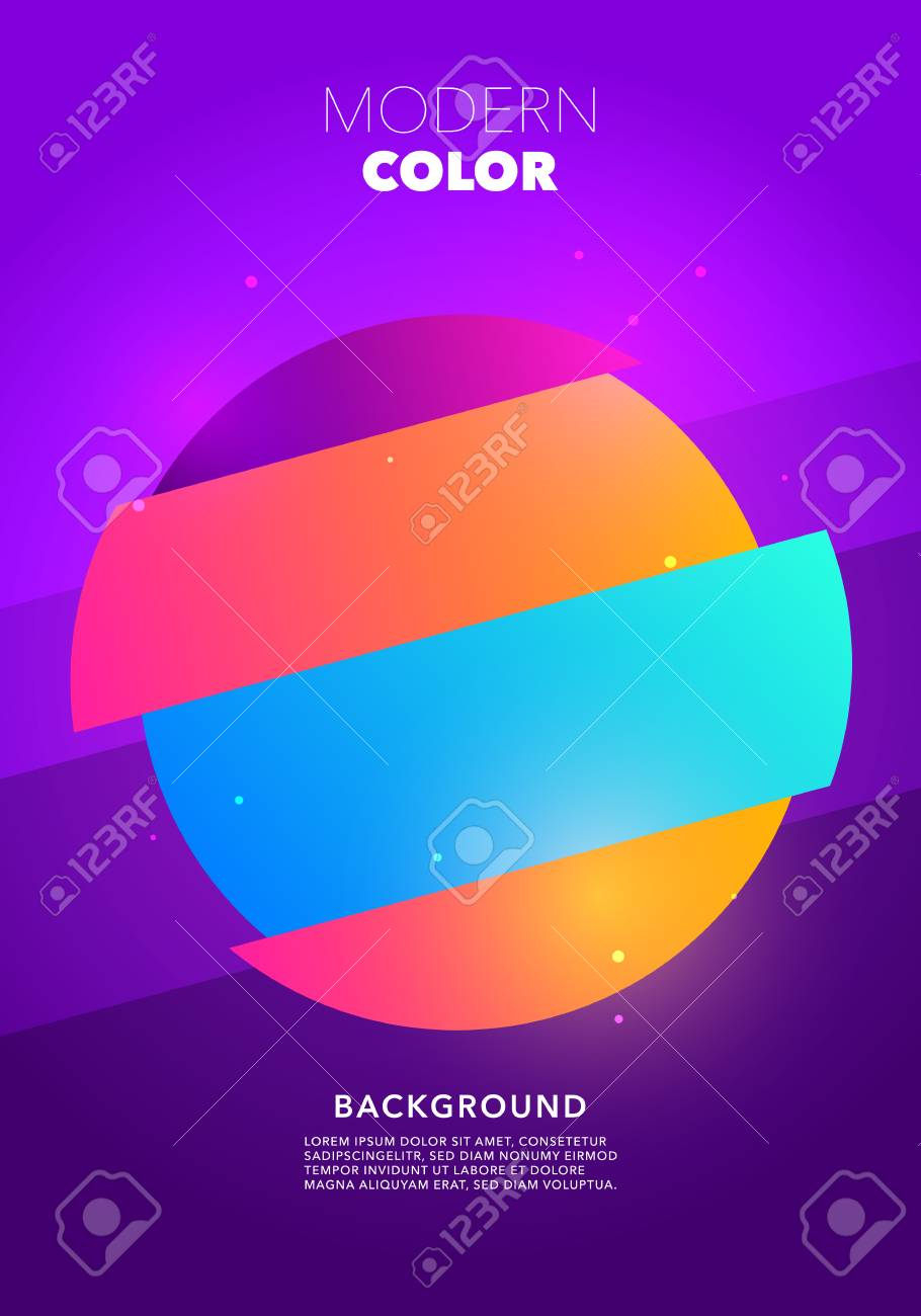 Vector Illustration of Colorful Retro Circle Shape Glitch Poster