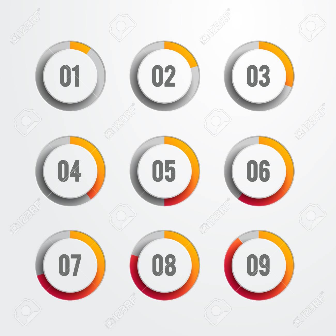 Set of nine circular progress bar icons  Timer icon interval