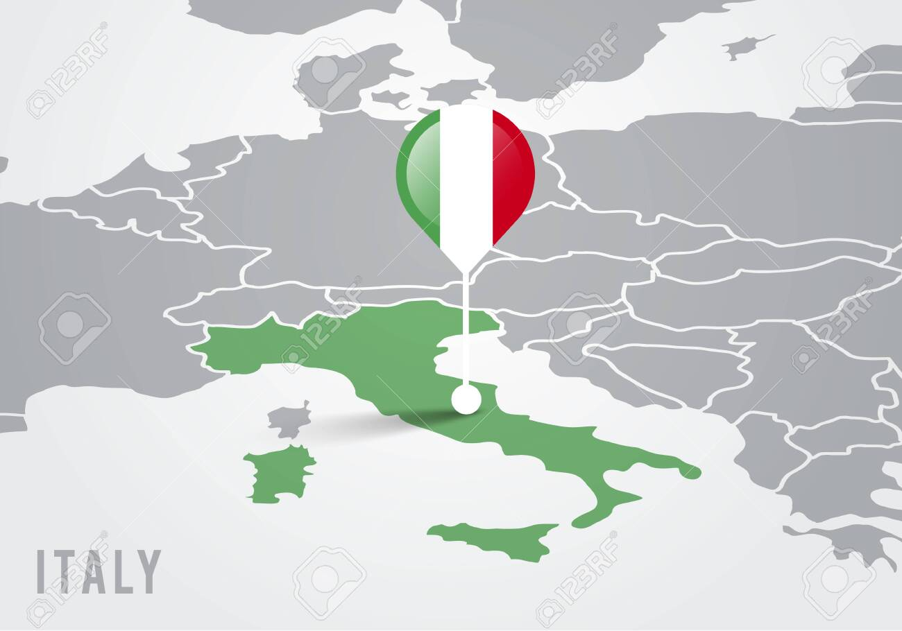 Italy On Map Of Europe.Vector Illutration Map Of Europe With Highlighted Italy Map And