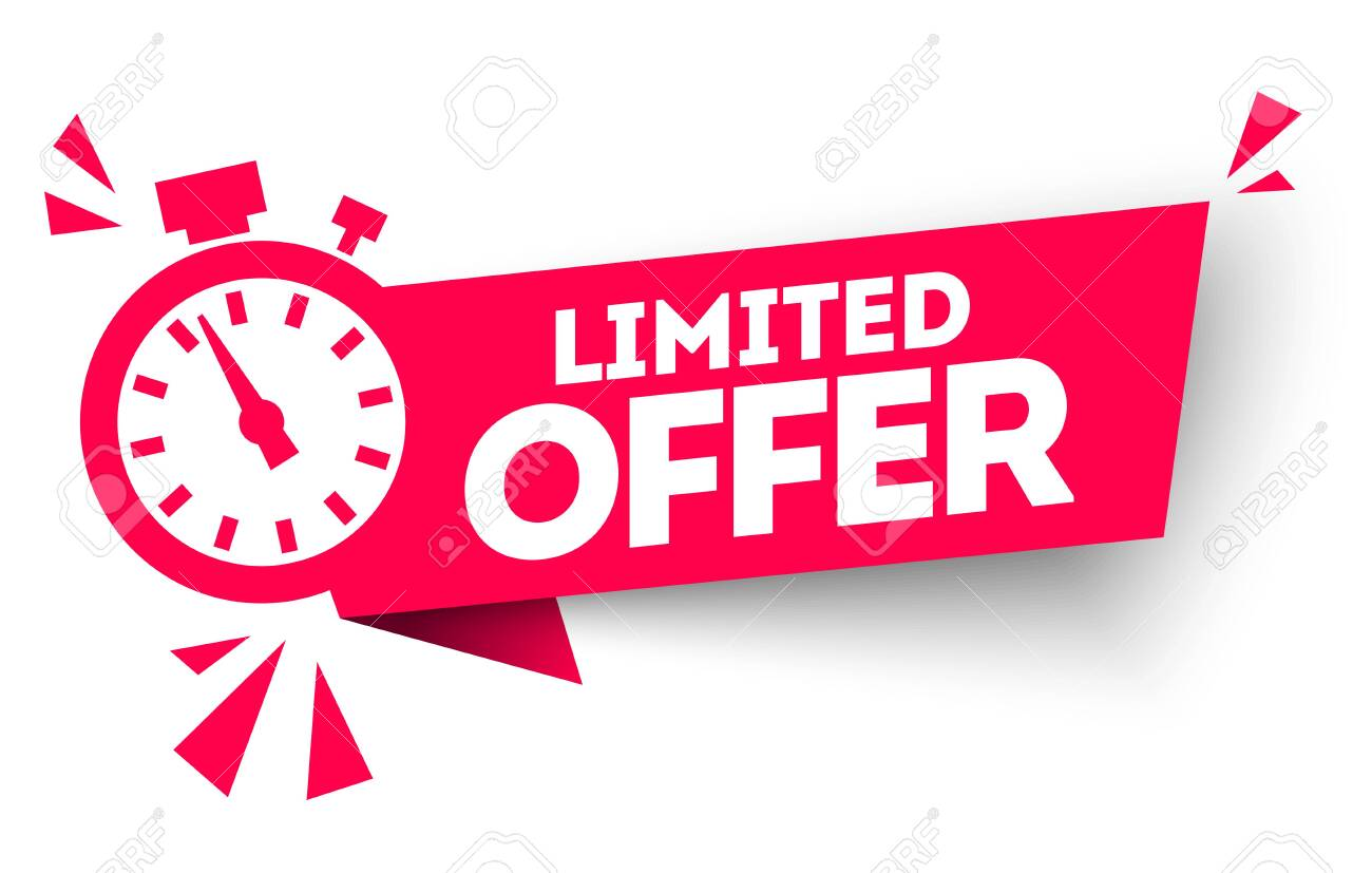 Modern red vector banner ribbon limited offer with stop watch. - 140305725