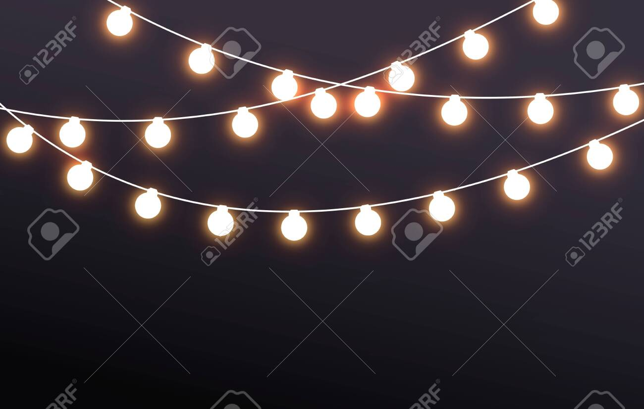 Vector Illustration Fairy Lights On Dark Background - 157182612