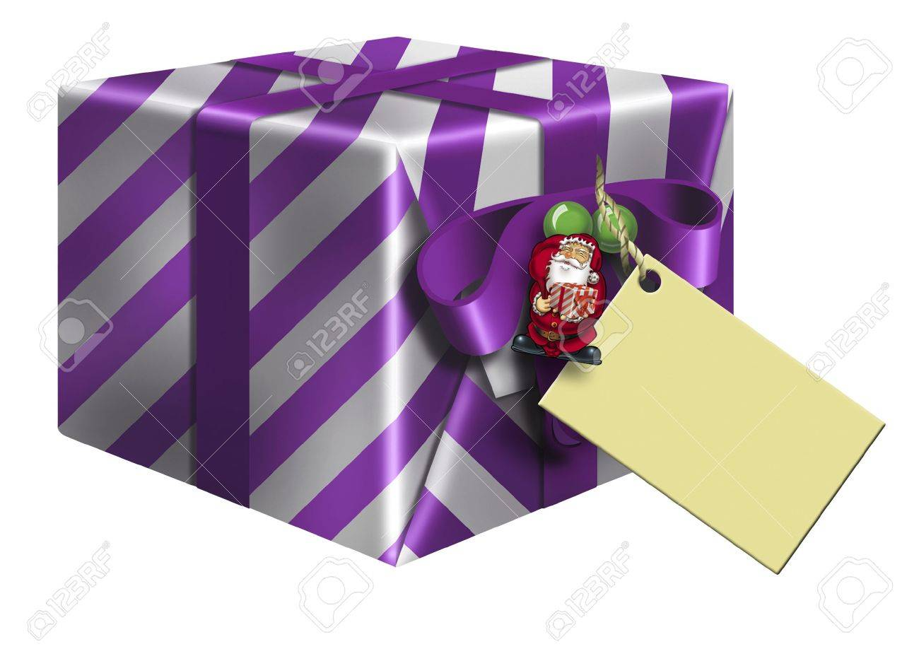 purple striped christmas gift box stock photo picture and