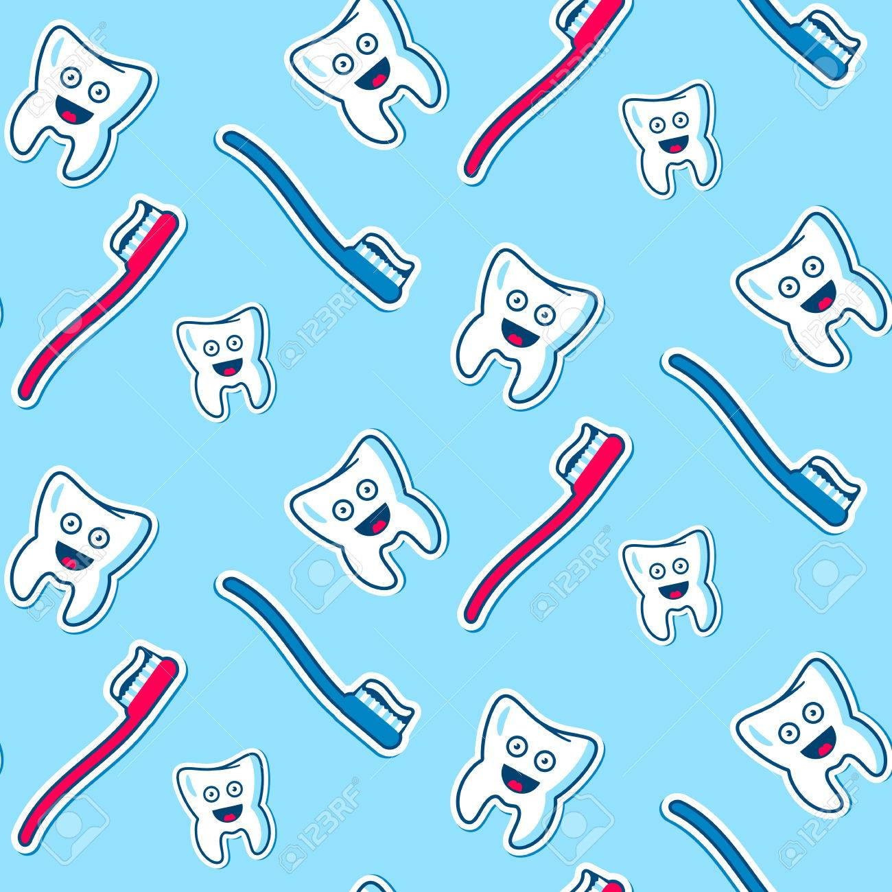 Seamless Vector Pattern With The Health Joy Teeth Blue And Red Royalty Free Cliparts Vectors And Stock Illustration Image 40949598