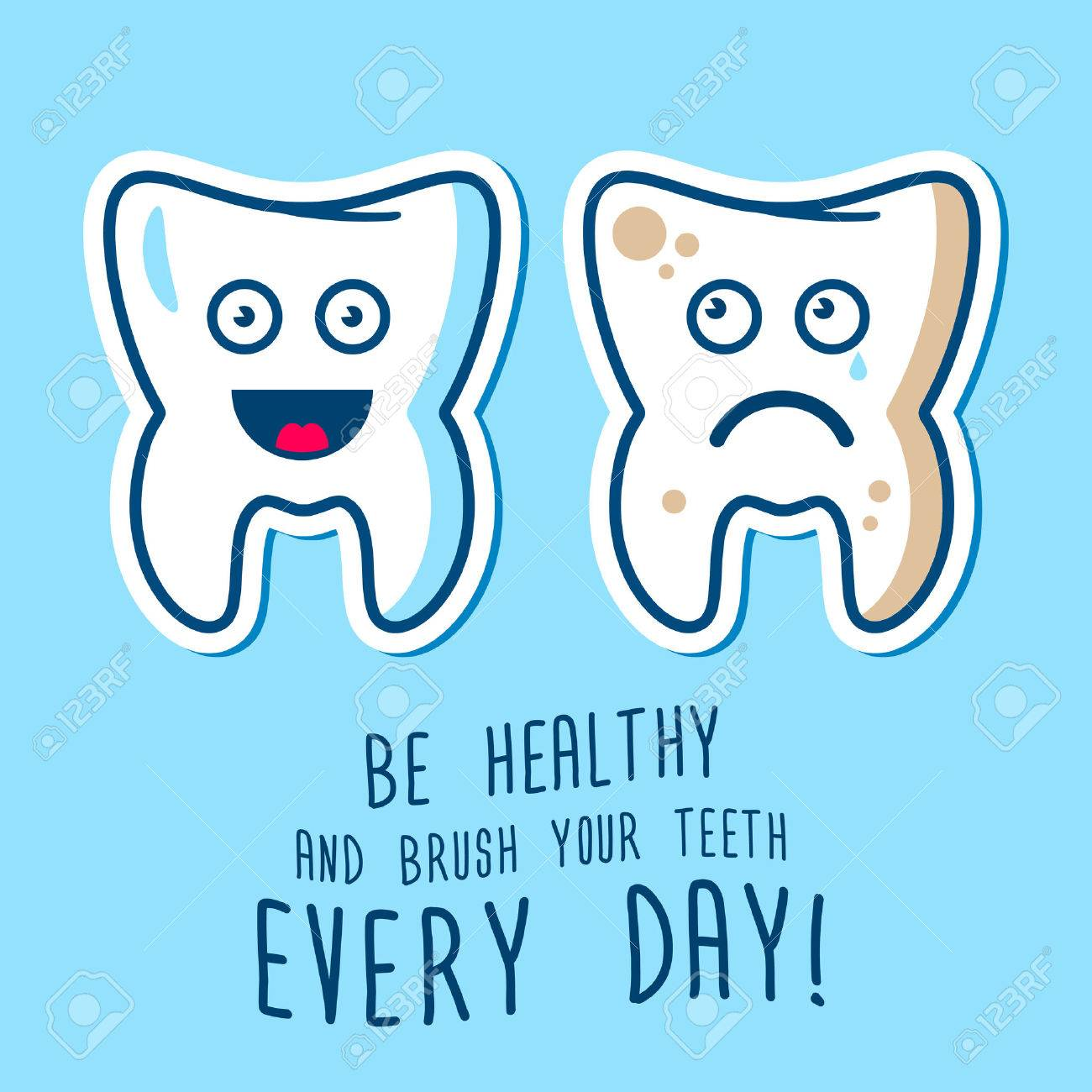 Vector illustration of the dirty ill and jpy healthy teeth, blue and red toothbrashes on a sky background. Fully editable illustration. Perfect for children illustrations, medcine care, images etc. - 40949603