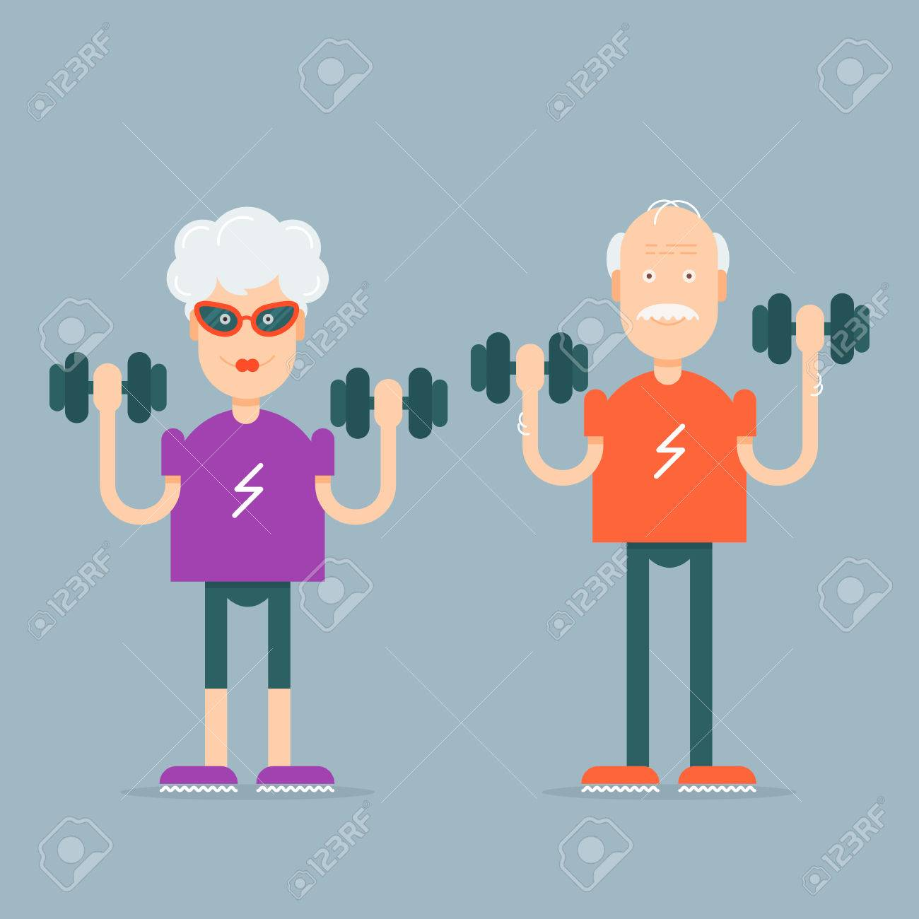 In vogue modern grandparents with the dumbbells in their hands doing fitness exercises. Fully editable vector illustration. Perfect use for informational cards, posters, flayers. - 43277215