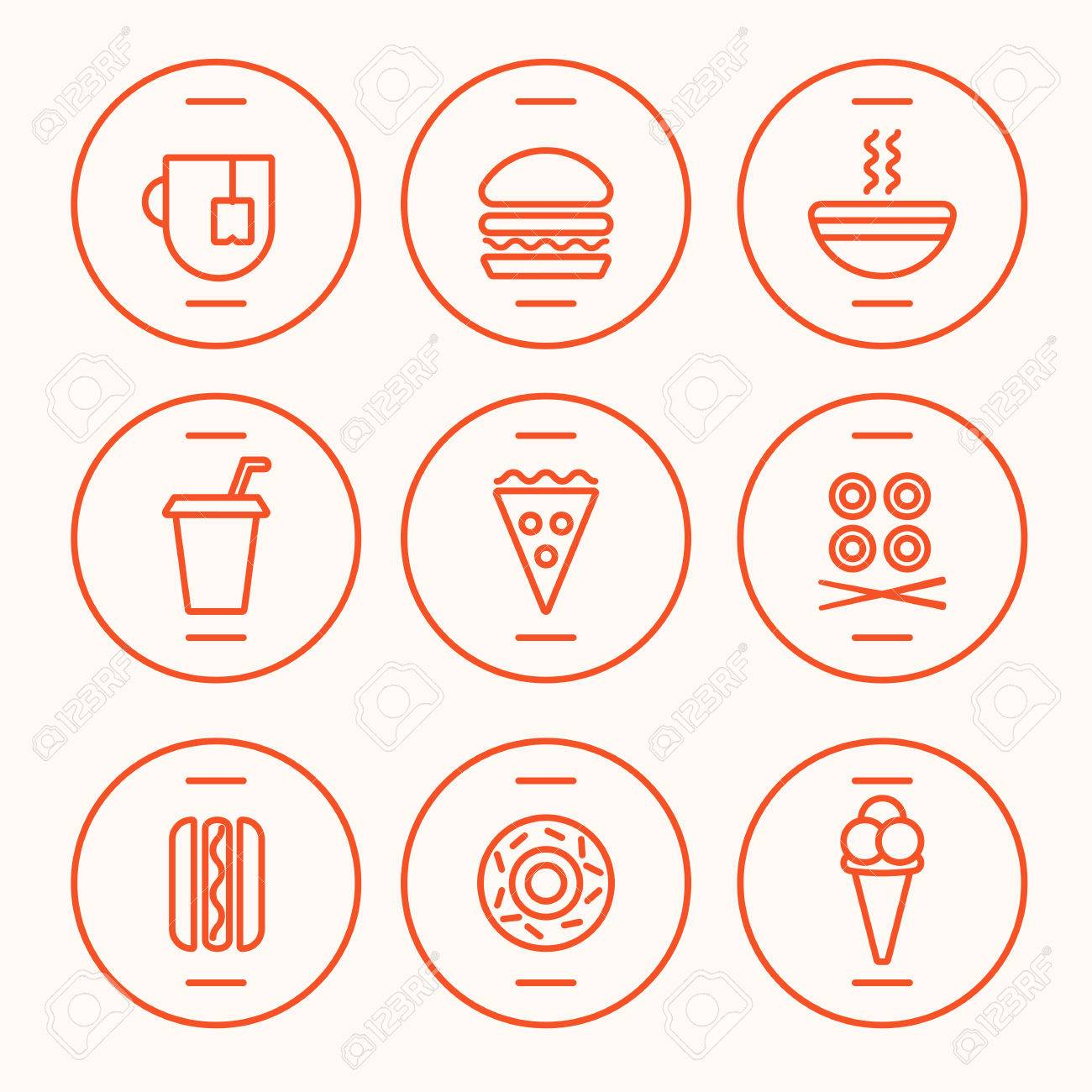 Set of Fast Food Icons performed in the last illustration trends. Hot dog, hamburger, tea, hot soup, cola, pizza, rolls, hotdog, donut, icecream symbolic icons. Fully editable vector illustration. - 46141902
