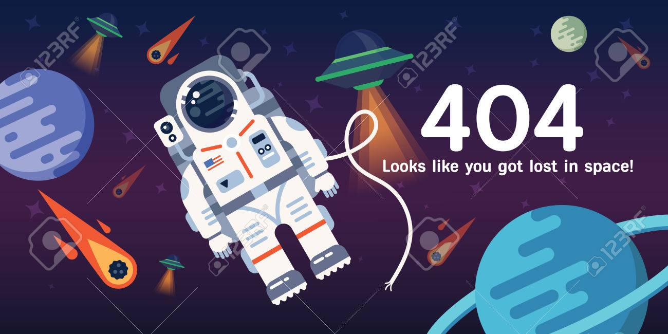 The concept of 404 error web page with austronaut in the open space between different palnets, comets, stars and space ships. Very good idea. Perfect for sites under constructions. - 57143627