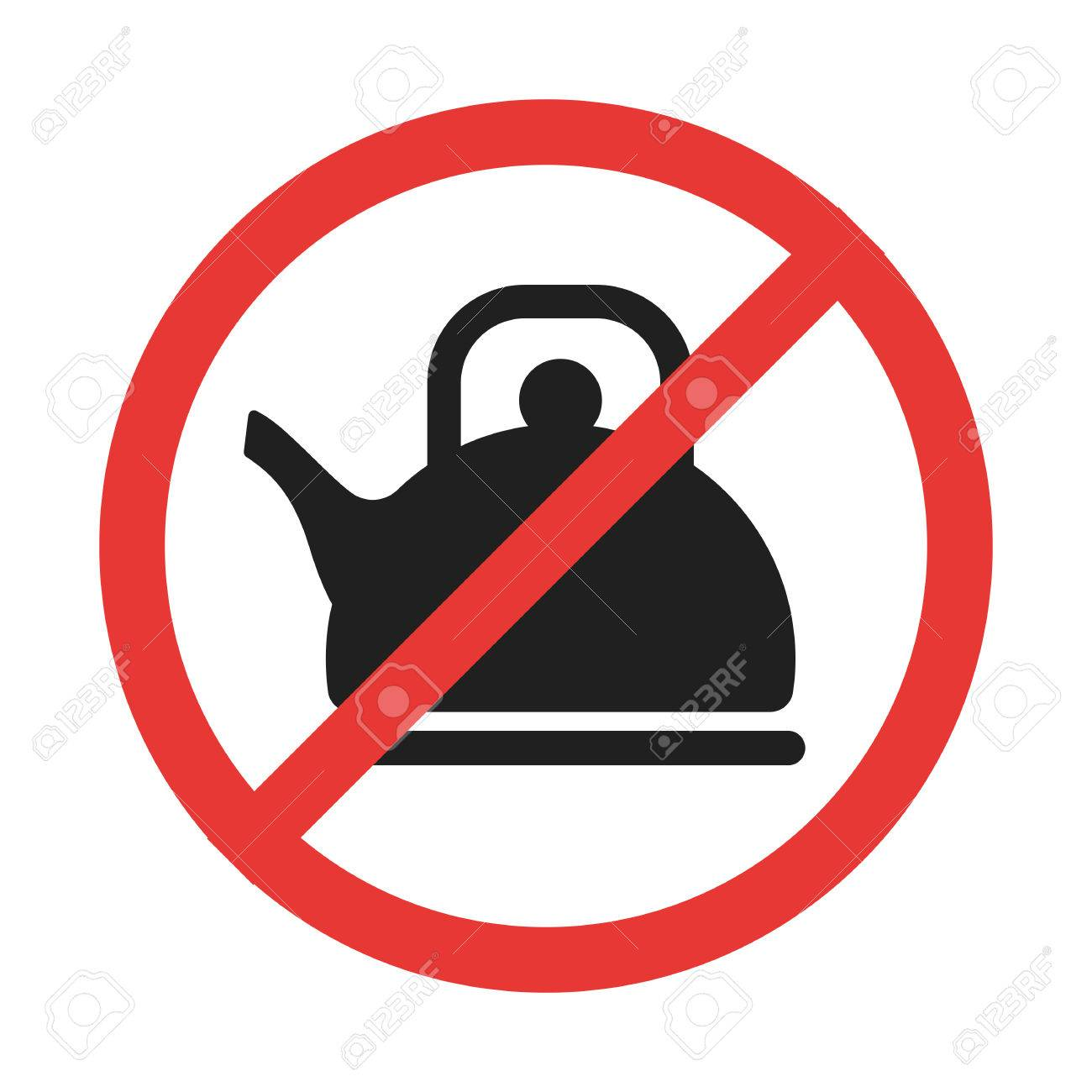 no teapot prohobition sign with the line through red circle rh 123rf com