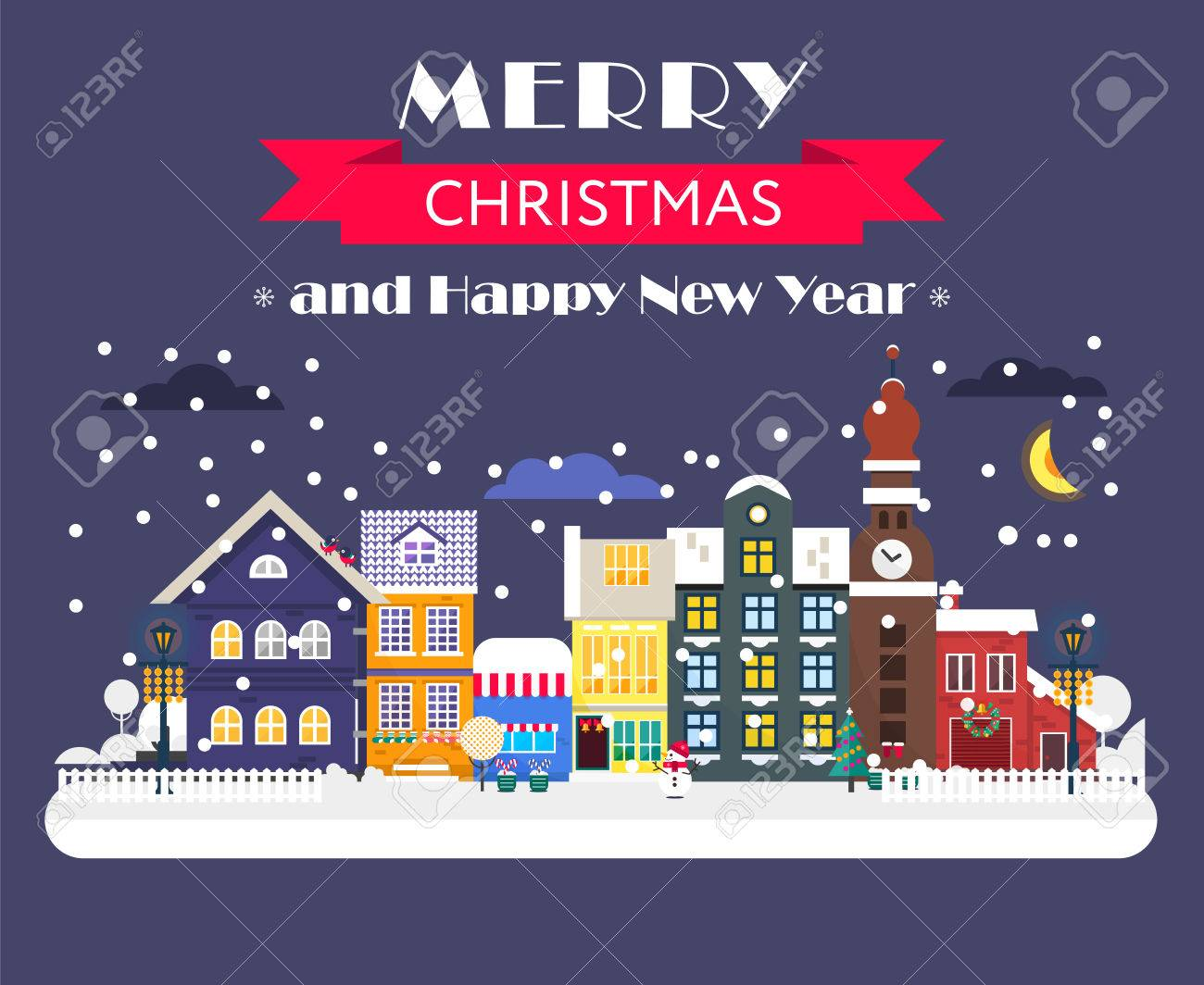cool concept for winter holidays cards magical night citylandscape with the street of old town