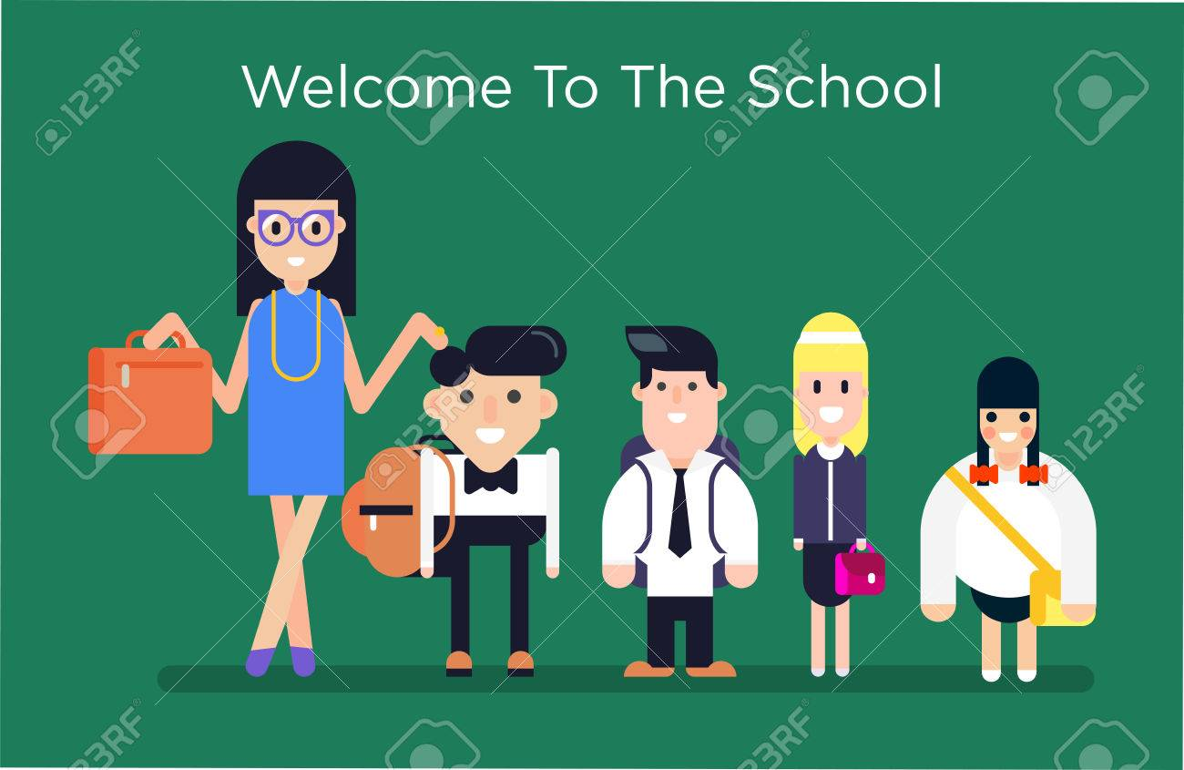 3a30c71fa4 Cool vector character illustration on kids in uniforms ready for school. Small  cute siblings wearing