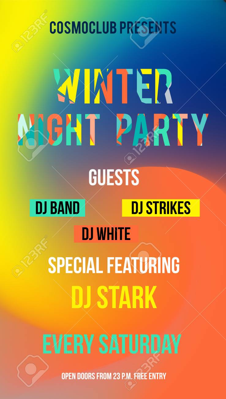 web banner or print poster for night party announcement great