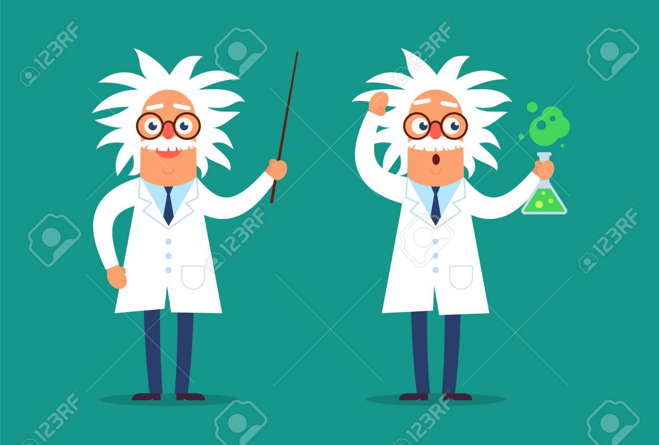 Two professor characters standing in the classroom with the pointer and test tube. Flat design funny illustration. Back to school idea. - 109430274