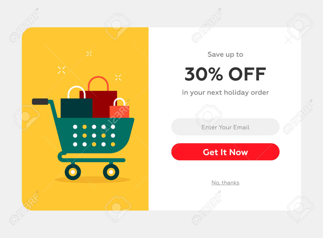 holiday discount popup with the cart full of present boxes, web form, winter holidays celebration - 154399187