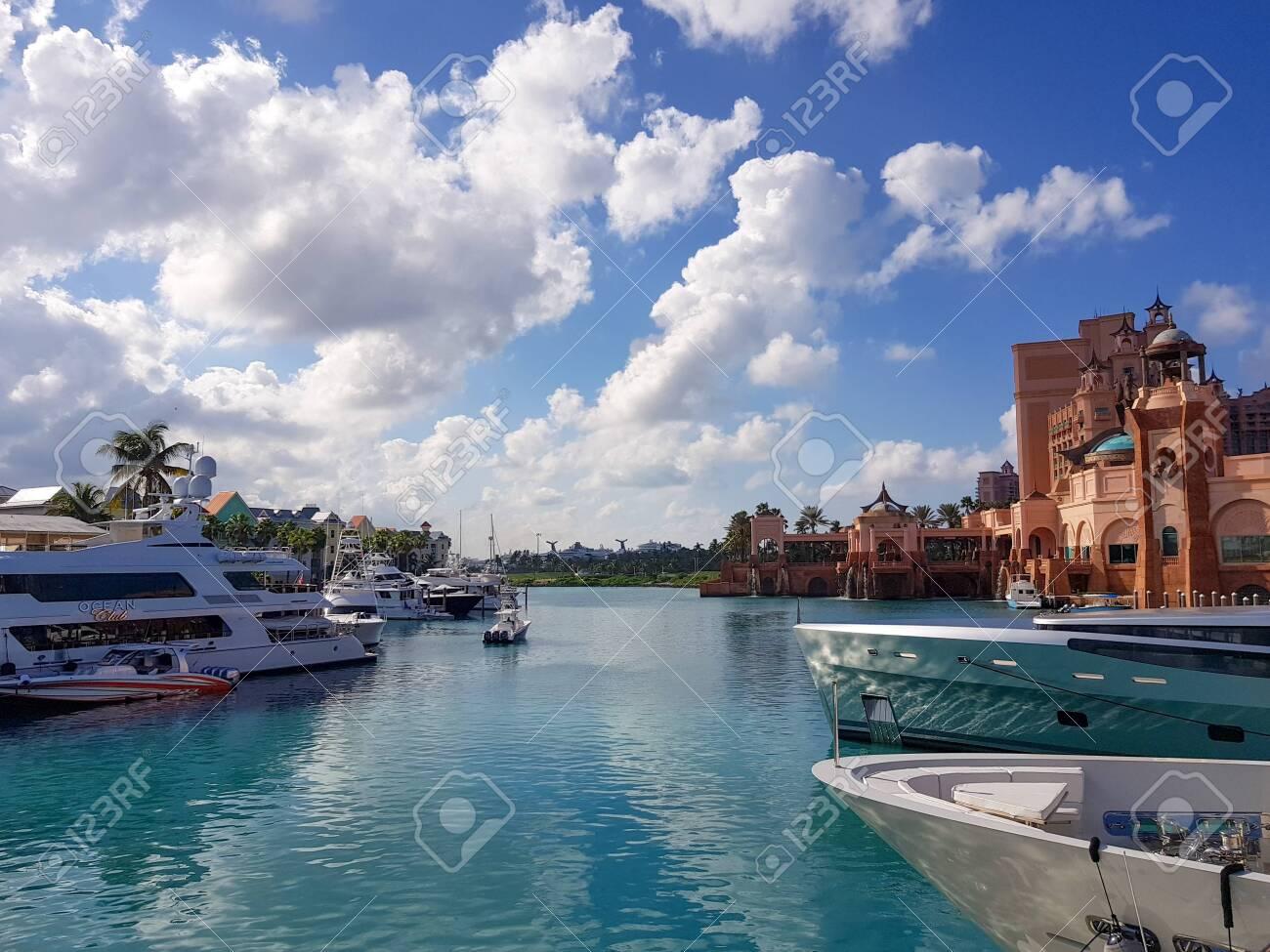 Atlantis Marina Paradise Island Bahamas 17 December 2017 View Of The Luxury Super Yachts Marina Next To The Famose Atlantis Hotel And Water Park Stock Photo Picture And Royalty Free Image Image 133363892