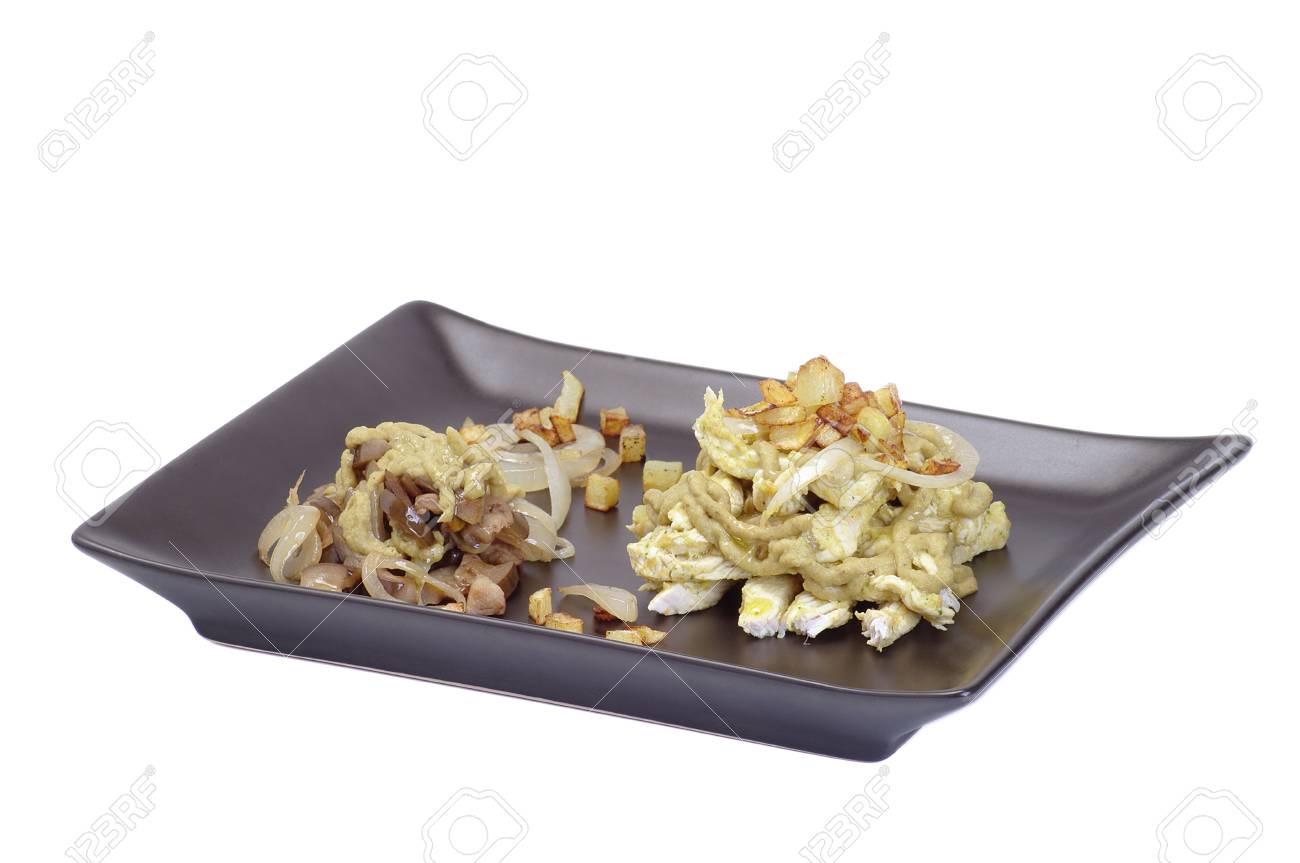 plate of chicken curry and vegetarian caponata Stock Photo - 13342118