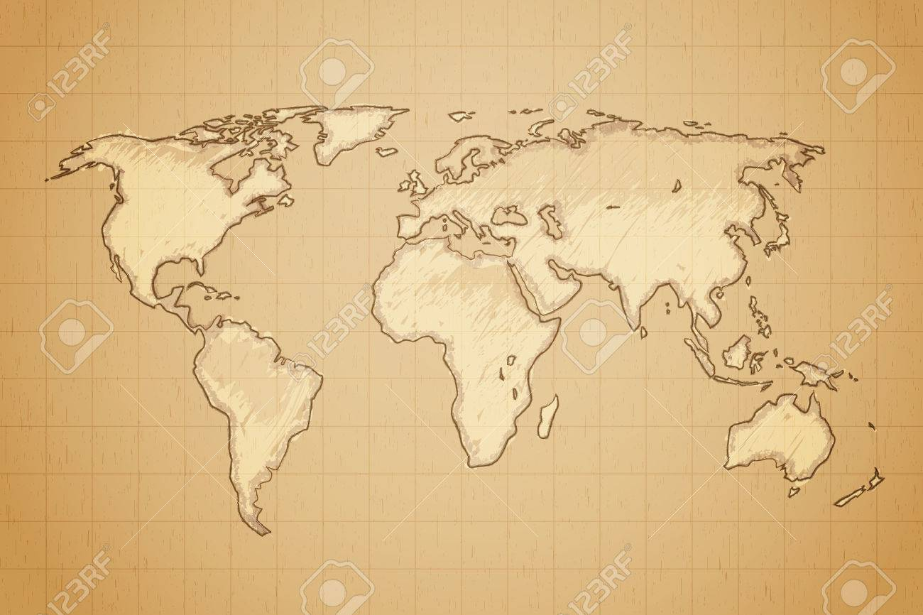 World map drawn on textured aged paper vector illustration royalty vector world map drawn on textured aged paper vector illustration gumiabroncs Gallery
