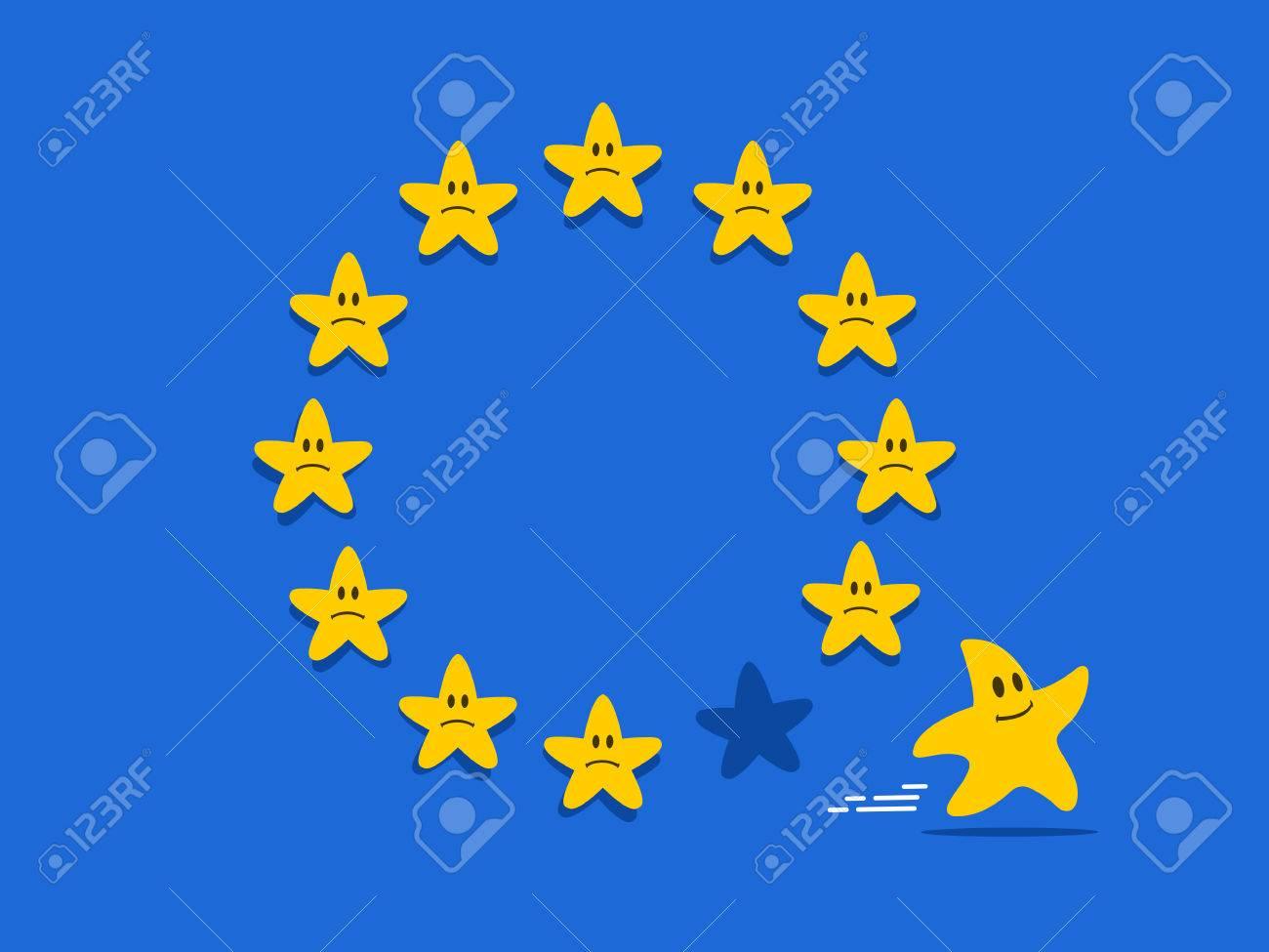 Brexit Cartoon-Konzept. Ein Stern Verlassen Flagge Der Europäischen Union  Als Symbol Vereinigten Königreichs, Die EU In Brexit Referendum. Lizenzfrei  Nutzbare Vektorgrafiken, Clip Arts, Illustrationen. Image 65717337.