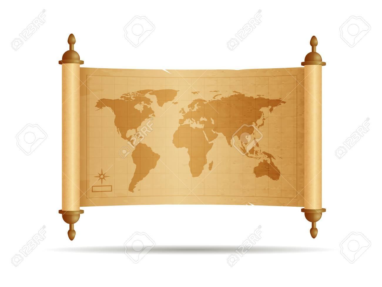 Carte Du Monde Parchemin vintage rouleau de parchemin avec la carte du monde illustration  vectorielle isolé sur blanc