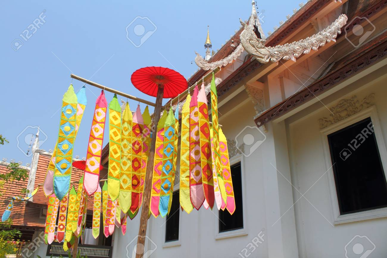 Many Color paper flag in temple of Thailand,For Buddha worship Stock Photo - 13244296