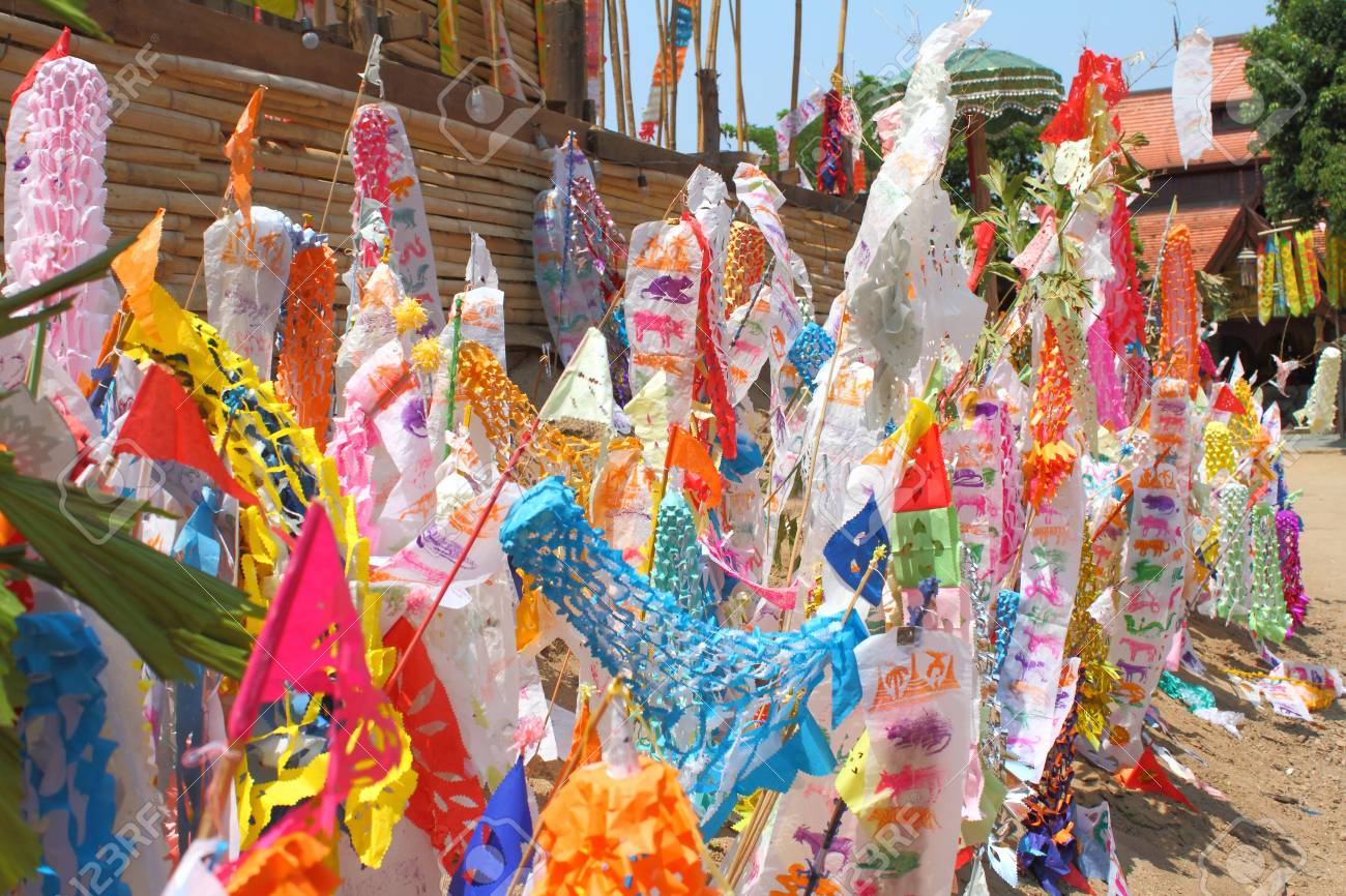 Many Color paper flag in temple of Thailand,For Buddha worship Stock Photo - 13244313
