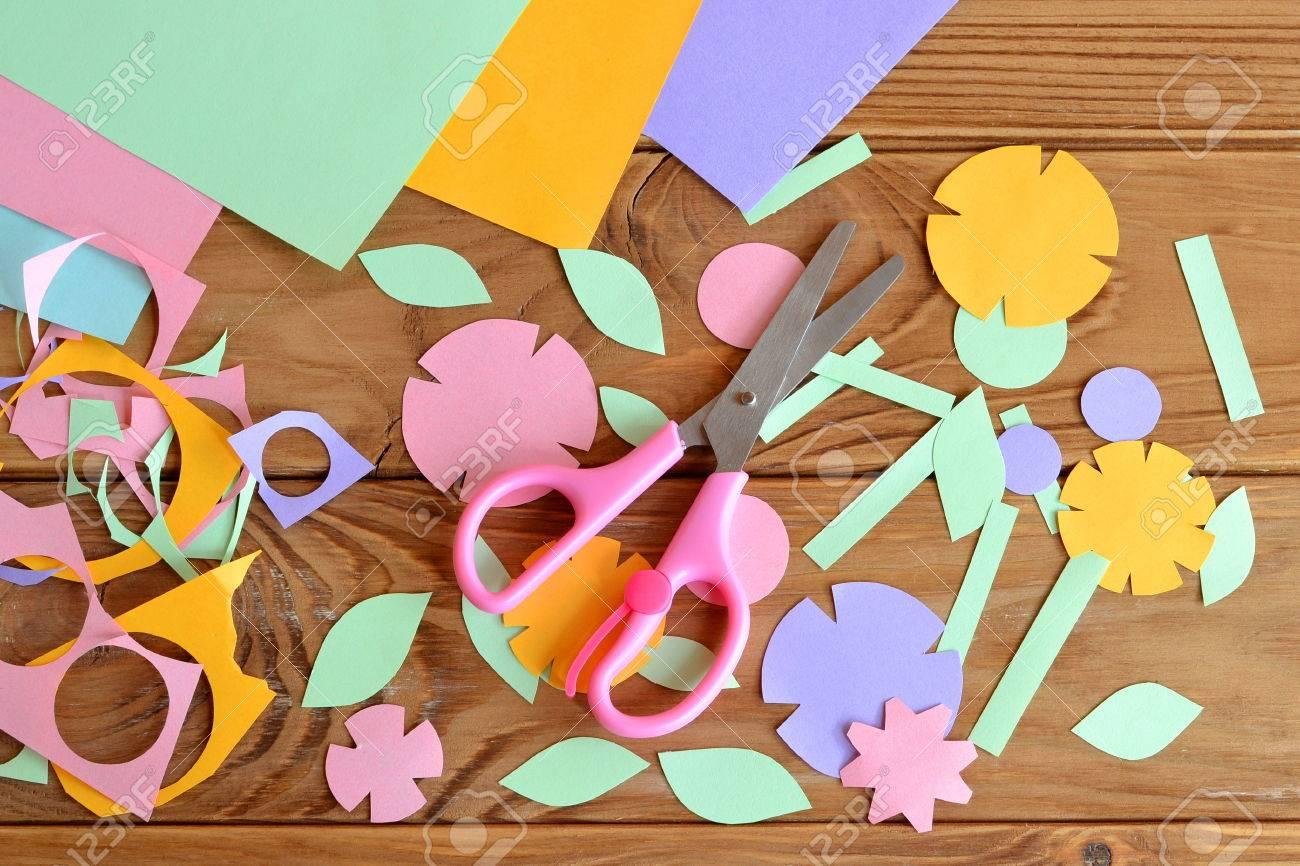 Paper Flowers Paper Sheets Scissors Paper Scrap On A Wooden