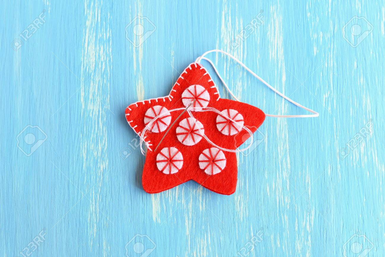 Join The Felt Edges Of Christmas Star With White Thread Using Stock Photo Picture And Royalty Free Image Image 65749699