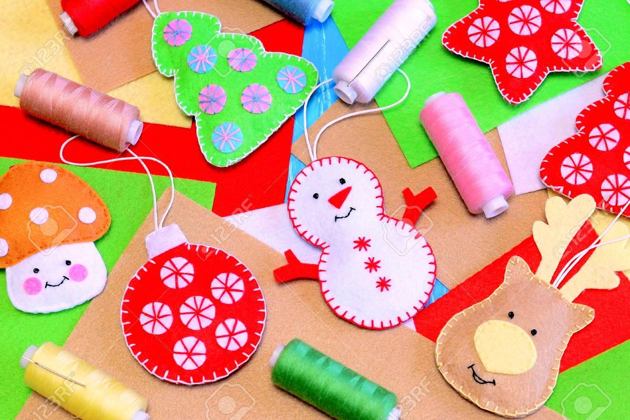 Felt Christmas Tree Ornaments Funny Felt Snowman Deer Christmas