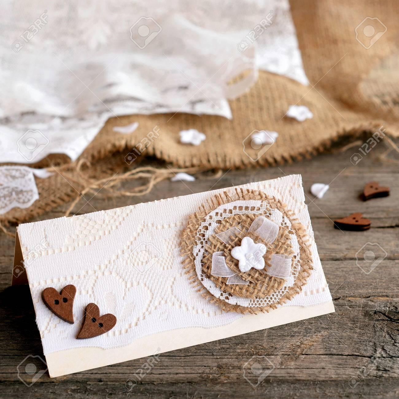 Rustic Wedding Invitation Card On Old Wooden Background Original