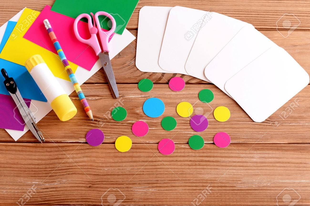 Cut Cards And Circle, Scissors, Pencil, Glue Stick, Colored ...
