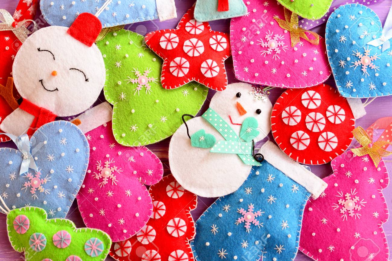 Kids Christmas Background. Cute Felt Ornaments For Christmas ...