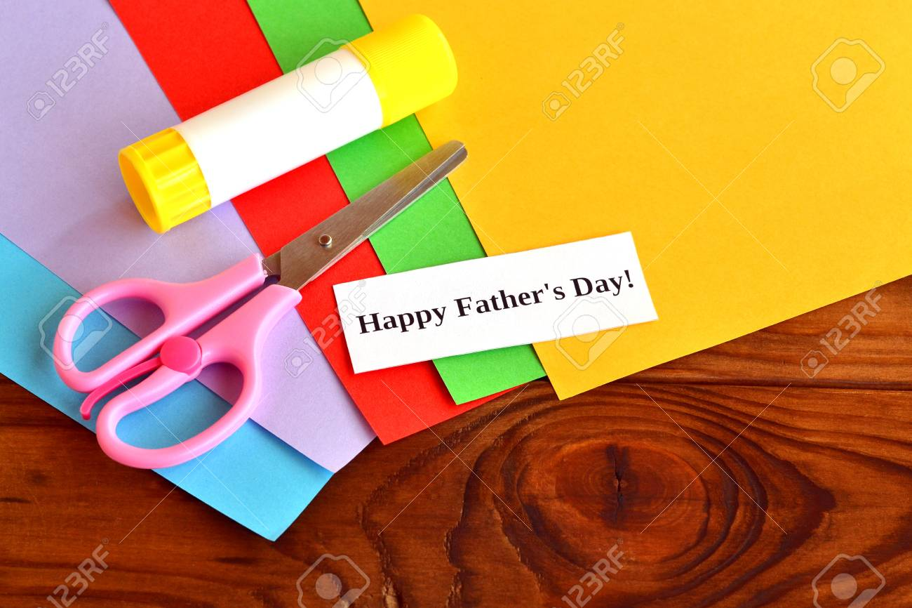 Set For Greeting Card Fathers Day Happy Fathers Day Kids Stock