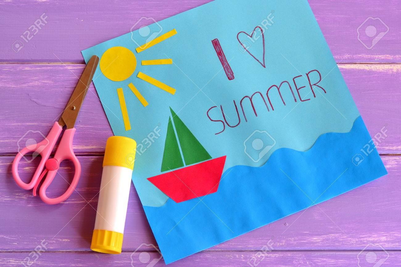 Paper Card With Ship Sun Sea I Love Summer Kids Summer Camp