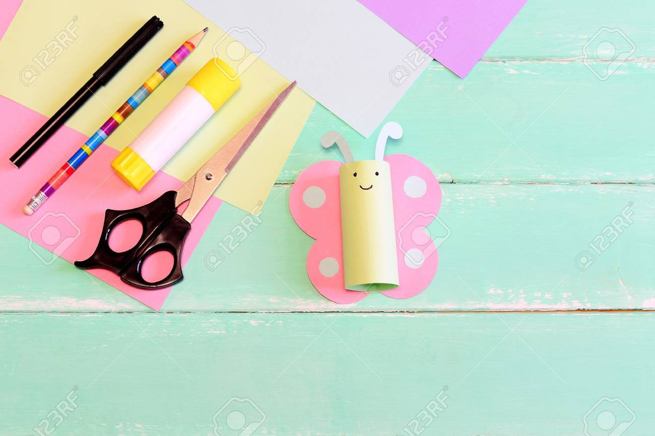Pretty Paper Butterfly Crafts, Scissors, Marker, Glue Stick,.. Stock ...