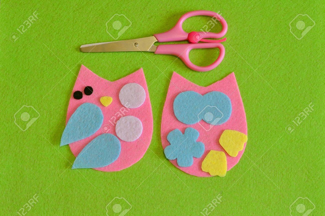 Ausschnitt-Details Eulenspielzeug. Schere. Stoff Handwerk Für Kinder ...