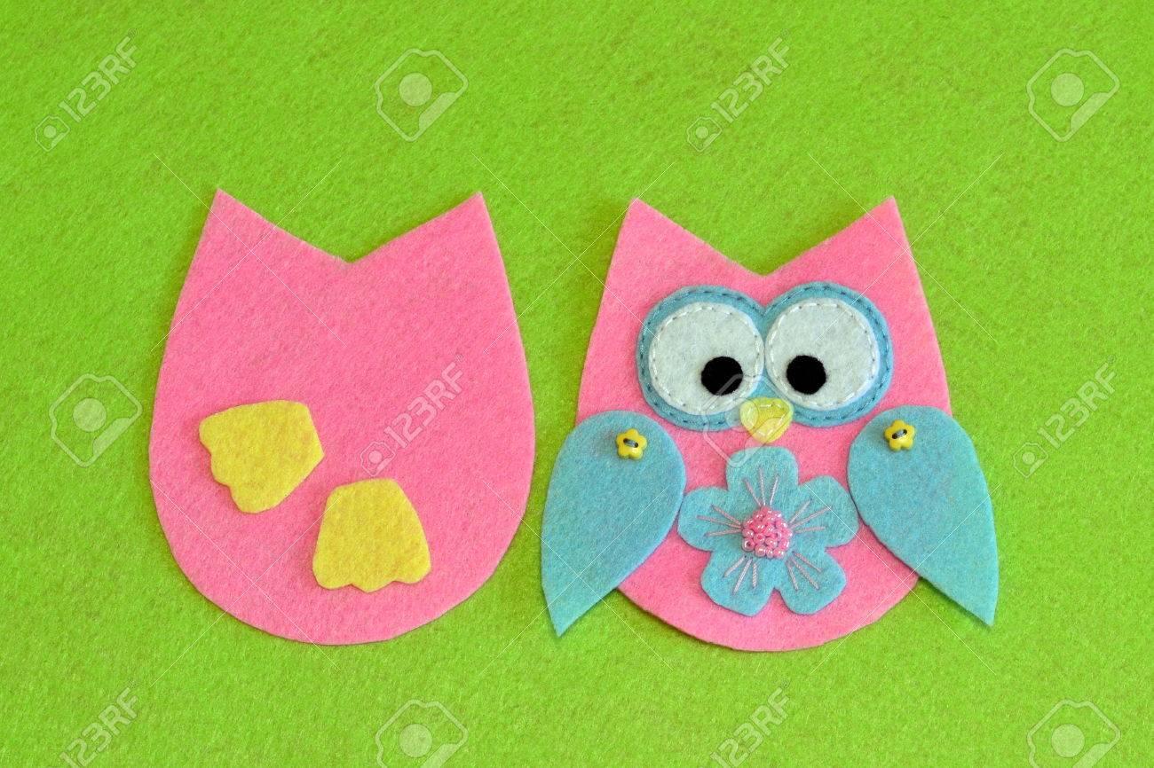 Nähen Muster Der Eule. Genähte Details Des Vogelspielzeugs. Filz ...