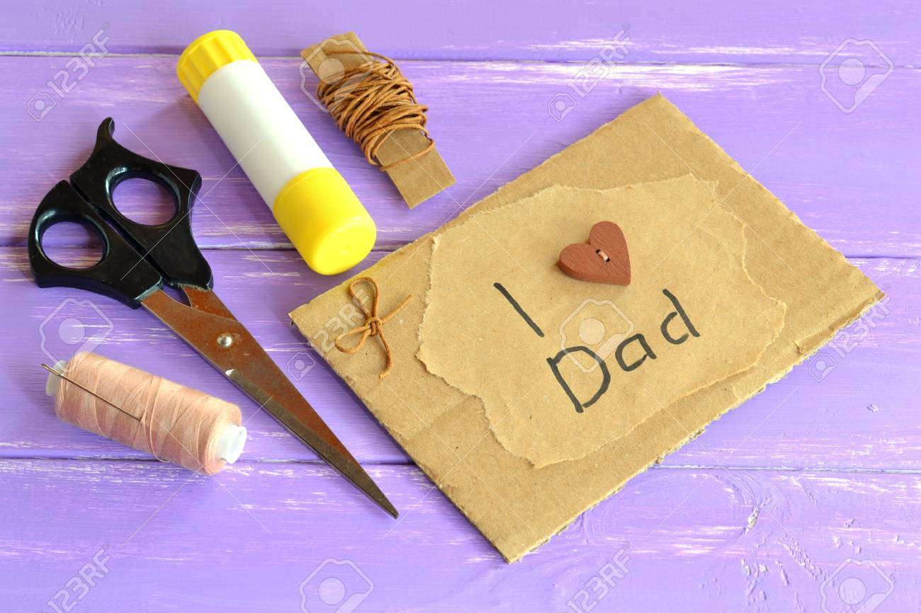 Hand Greeting Card With Message I Love Dad Homemade Design Fathers Day Happy