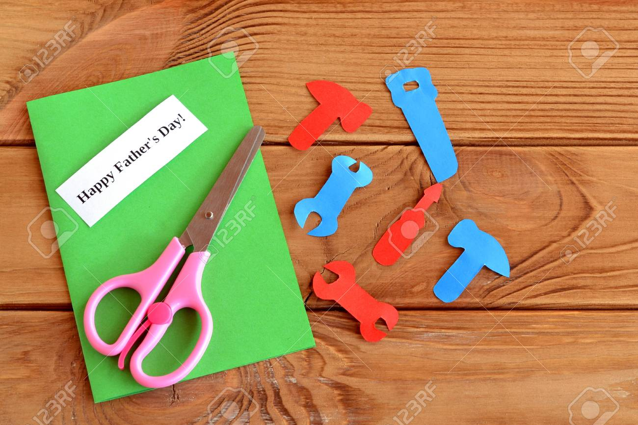 Paper Tools Scissors Set For Greeting Card Fathers Day Happy