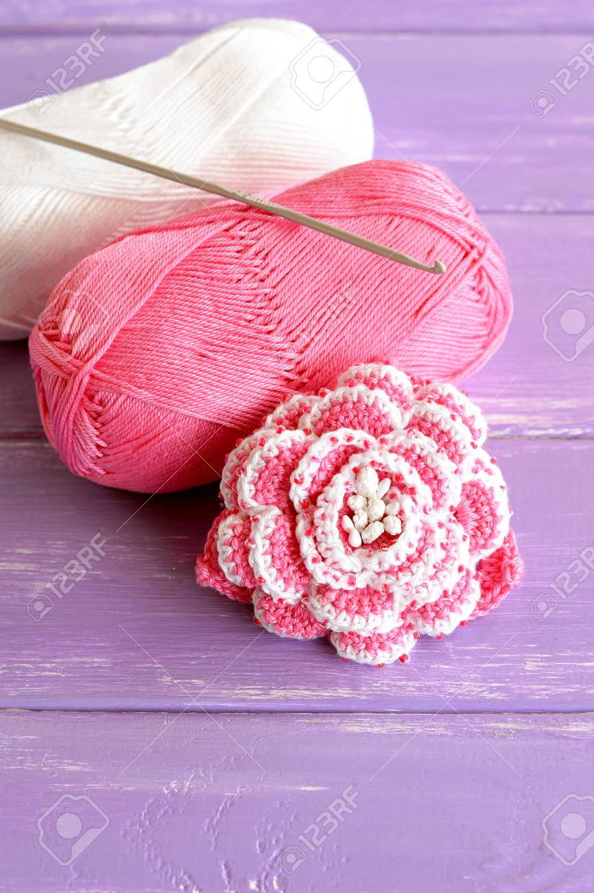 Home Pink And White Crochet Rose Two Skeins Of Cotton Yarn And ...